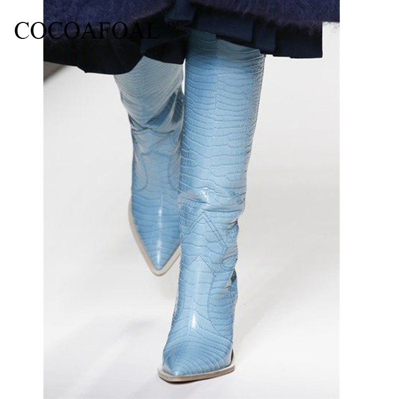 COCOAFOAL New Pointed Women Cowboy Boots High Heel Knee High Boots Patchwork Embossing Plaid Runway Boots Knight Long BootiesCOCOAFOAL New Pointed Women Cowboy Boots High Heel Knee High Boots Patchwork Embossing Plaid Runway Boots Knight Long Booties