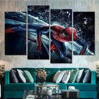 4 Unidades del Superhéroe Spider Man Nórdico Del Cartel Del Arte Sin Marco Envío de la gota de la Lona Wall Art for Living Room Decoración Del Hogar