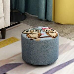Image 2 - Creative שרפרף שרפרף ספת אופנה בד שרפרף סלון עץ מסגרת שרפרף קטן ספסל בית פשוט ילד מושבים 20cm