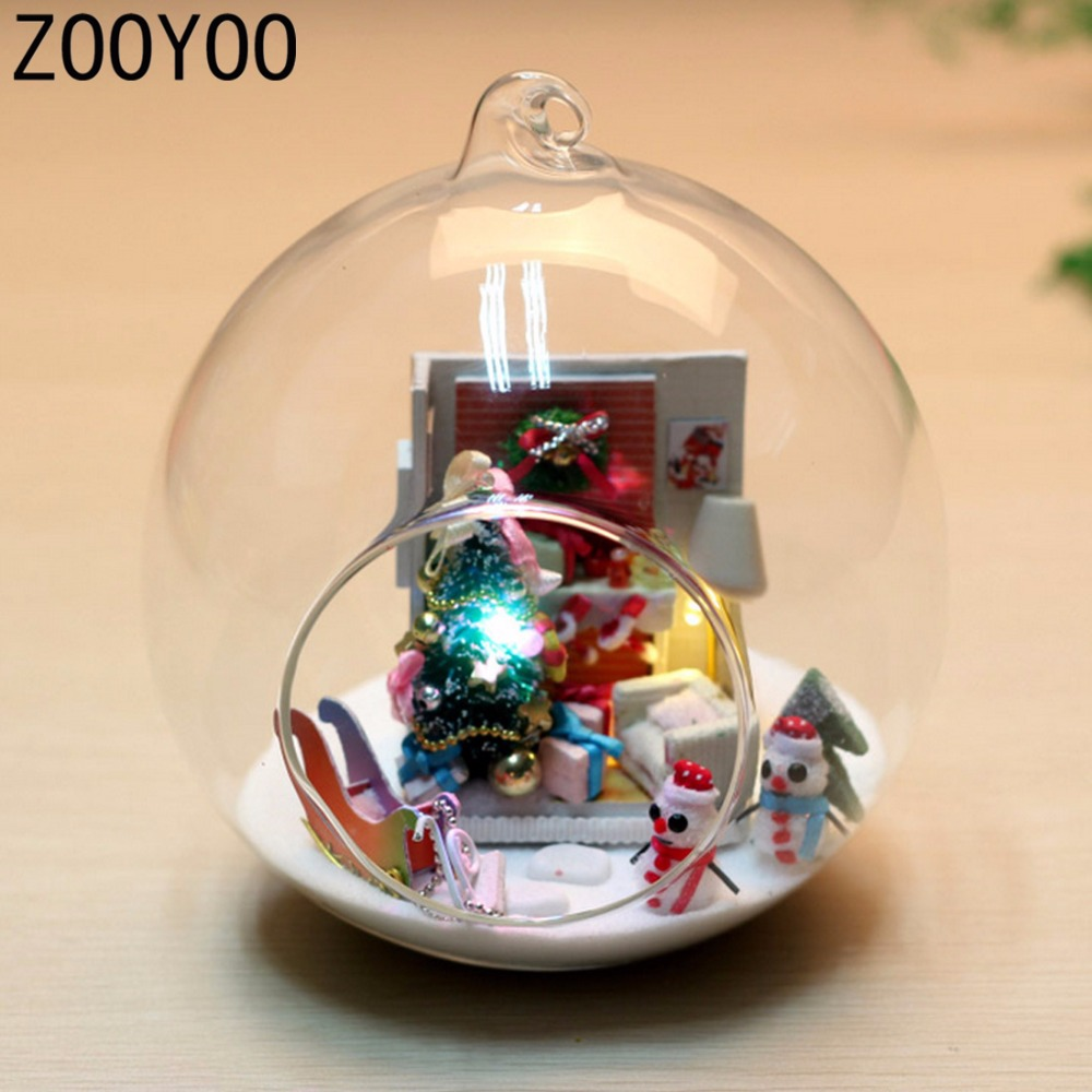 Miniature crystal ornaments - Zooyoo Diy Wooden Dollhouse Miniature Christmas Tree Voice Control Led Light Crystal Glass Ball Kids Toy