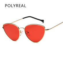 POLYREAL Retro Red Cat Eye Sunglasses Women 2017 Brand Designer Tinted Color Clear Lens Vintage Sun Glasses Women Eyewear UV400