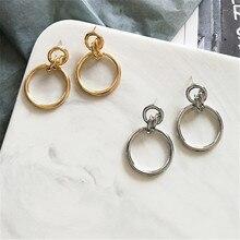 geometric metal earrings CHIC The girl beautiful Fashionable retro splicing combination Earrings wholesale
