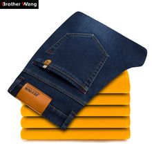 Brother Wang 2019 Winter Men's Warm Jeans Business Casual Elasticity Thick Slim Denim