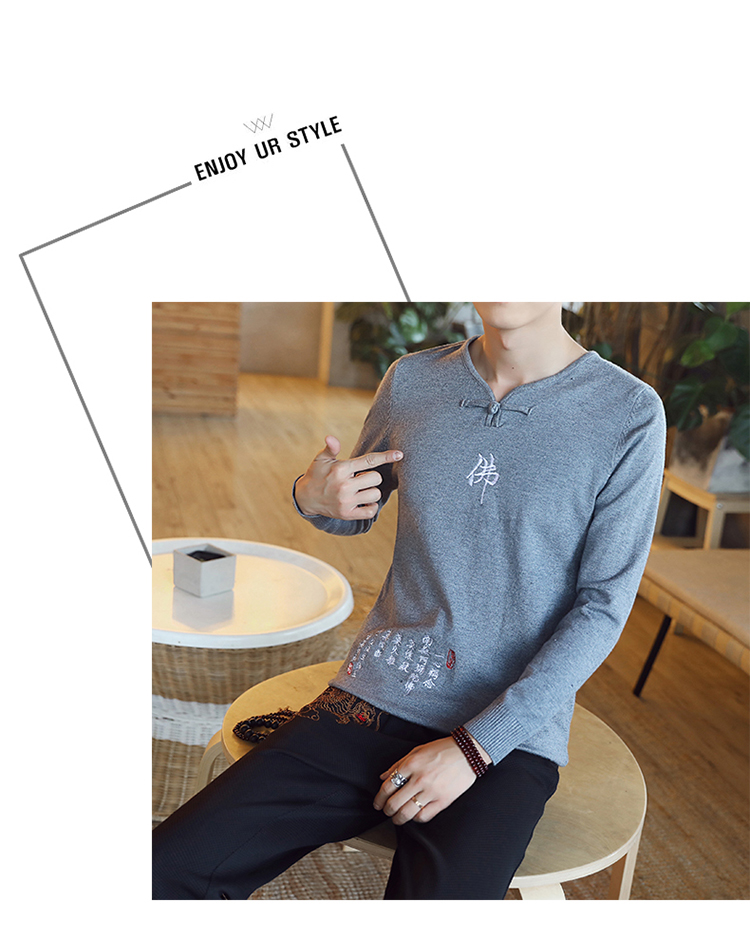 Chinese style Buddha embroidery Pull Homme Pullover Men spring autumn Casual sweater knit leisure Jersey Hombre Cotton v-neck 70