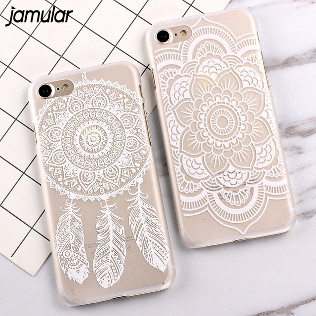 buy popular 6f714 a48ce US $1.39 30% OFF|JAMULAR White Floral Paisley Flower Mandala Case Cover For  iphone 8 7 Plus Flower Case for iphone 6S 6 Plus 5s SE Phone Cases-in ...