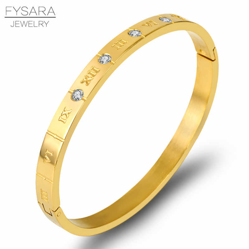 FYSARA Classic Design High Quality Zircon Crystals Roman Numerals Bracelets & Bangles Women Fashion Jewelry Bangles Wholesale