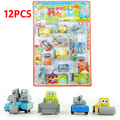 12pcs/lot multicolor plastic mini pull back model car/Warrior engineering carro educational toys  for children for 2-3 years