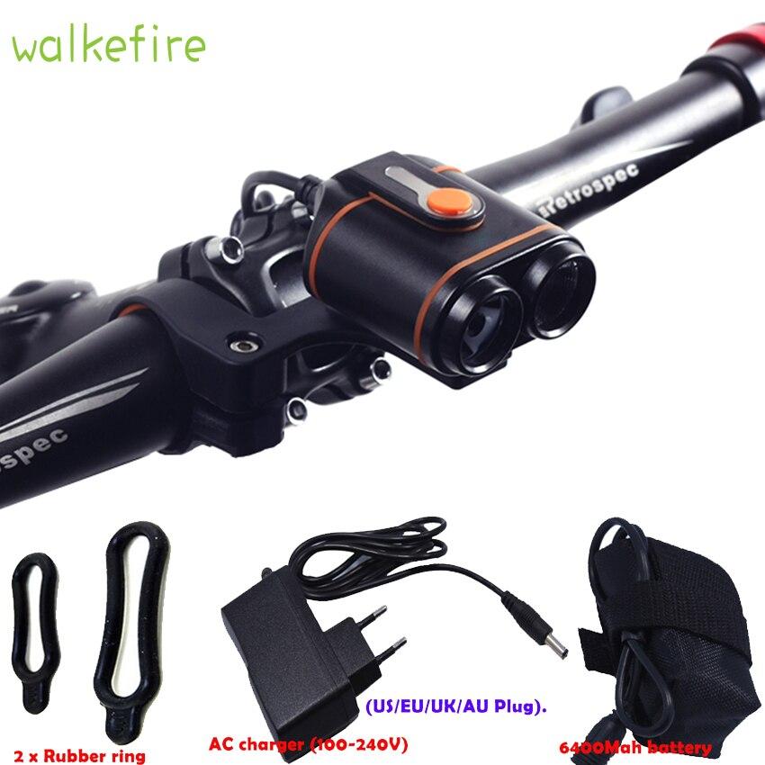 Walkefire Cyclisme Police Lampe Bisiklet Aksesuar Phare De Bicyclette LED Lampe D'éclairage Avant Flash Lanterne Torche + 18650 Batterie