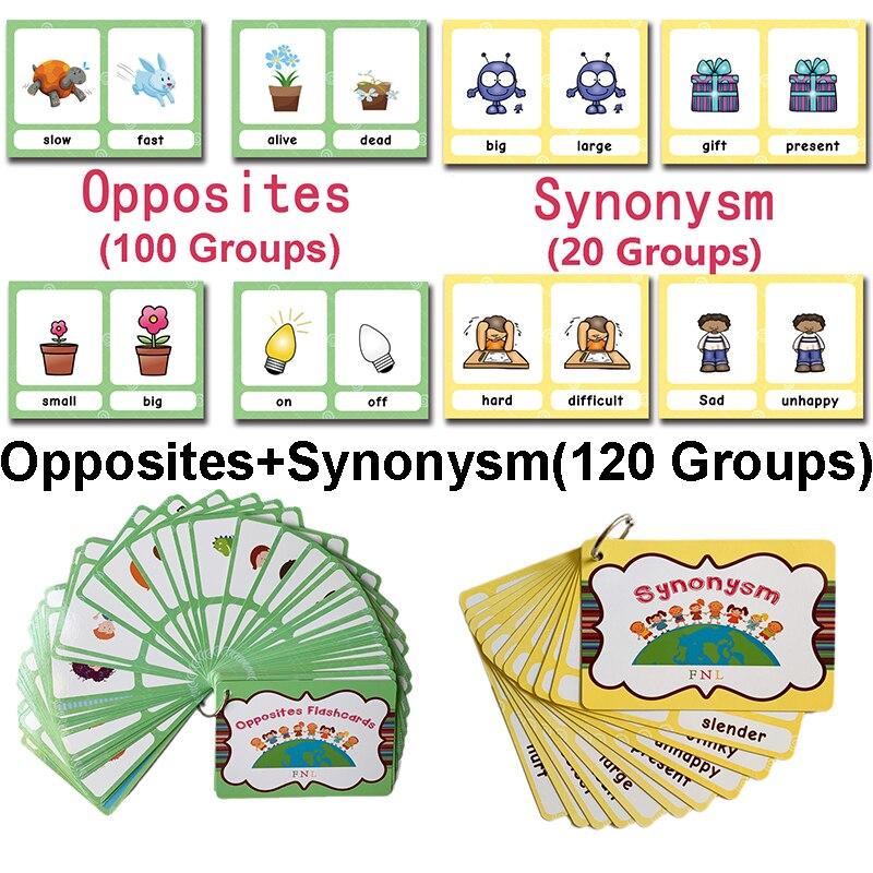 120 groupes/ensemble synonymes antonymes anglais mot apprentissage carte Flashcards jeux Puzzles pour enfants enfants Juguetes Educativos jouets