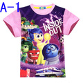 2016 Inside Out t-shirt Cartoon Printing Jacket Short-Sleeve Character Children Clothes Girl Baby Boy Clothes Christmas Clothes