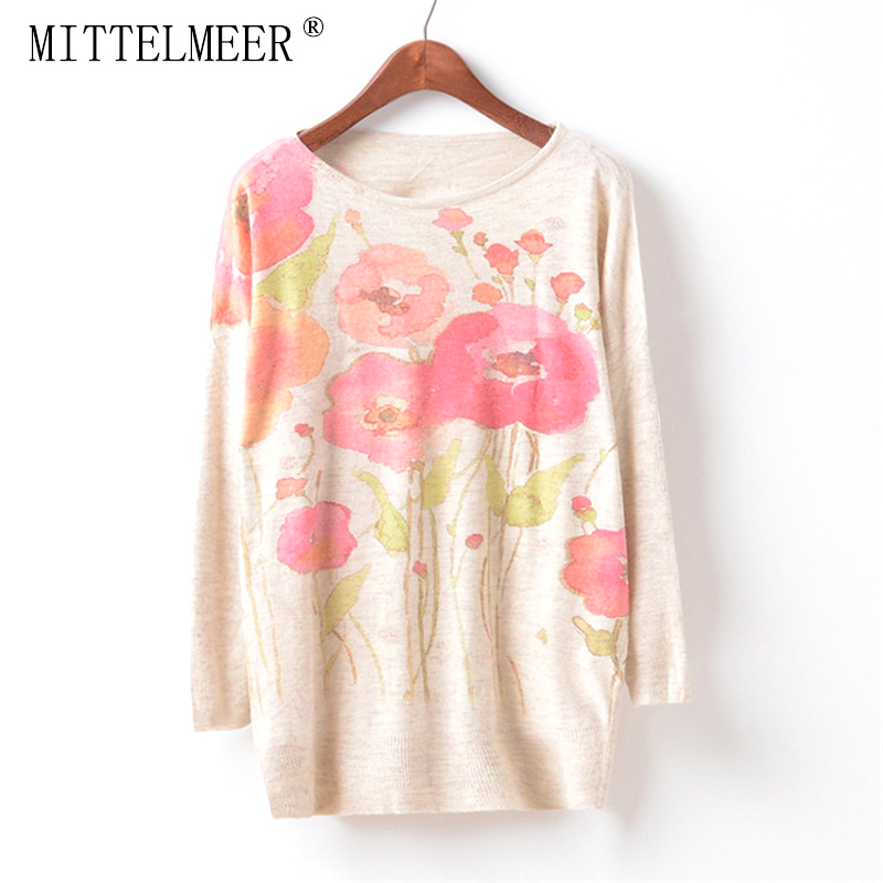 MITTELMEER New Autumn and Spring Harajuku printed Sweaters women o-neck printing Flowers Sweaters tops for women