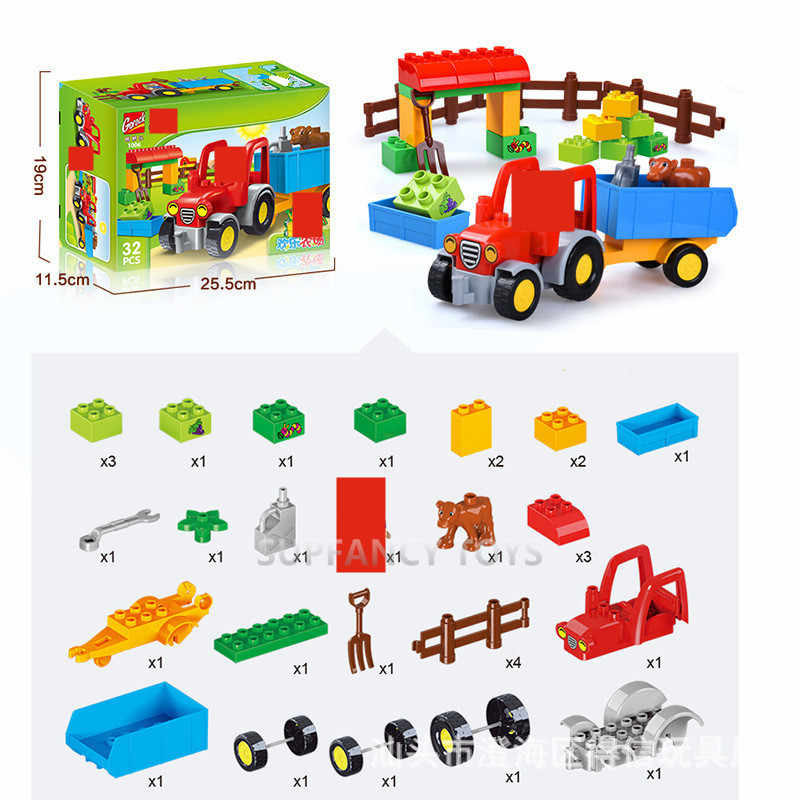 Happy Farm Grandes Conjuntos de Blocos de Construção Amigos Figuras de Animais DIY Baseplate LegoINGLs Duplo Tijolos Brinquedos Educativos para Crianças