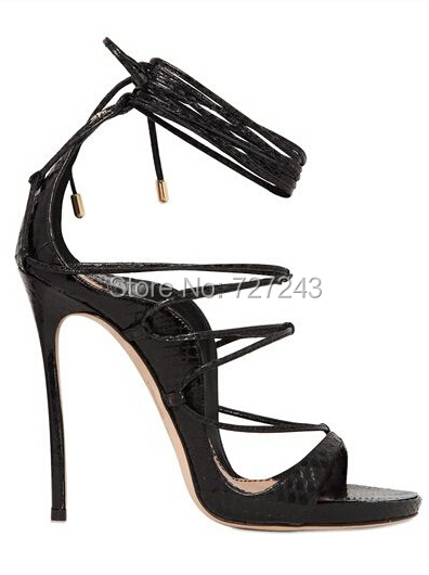 3c7261f59eb8 Fashion Design Lace up Strappy High Heel Sandals Black leather Cross Strap  Summer Shoes For women-in Women s Sandals from Shoes on Aliexpress.com