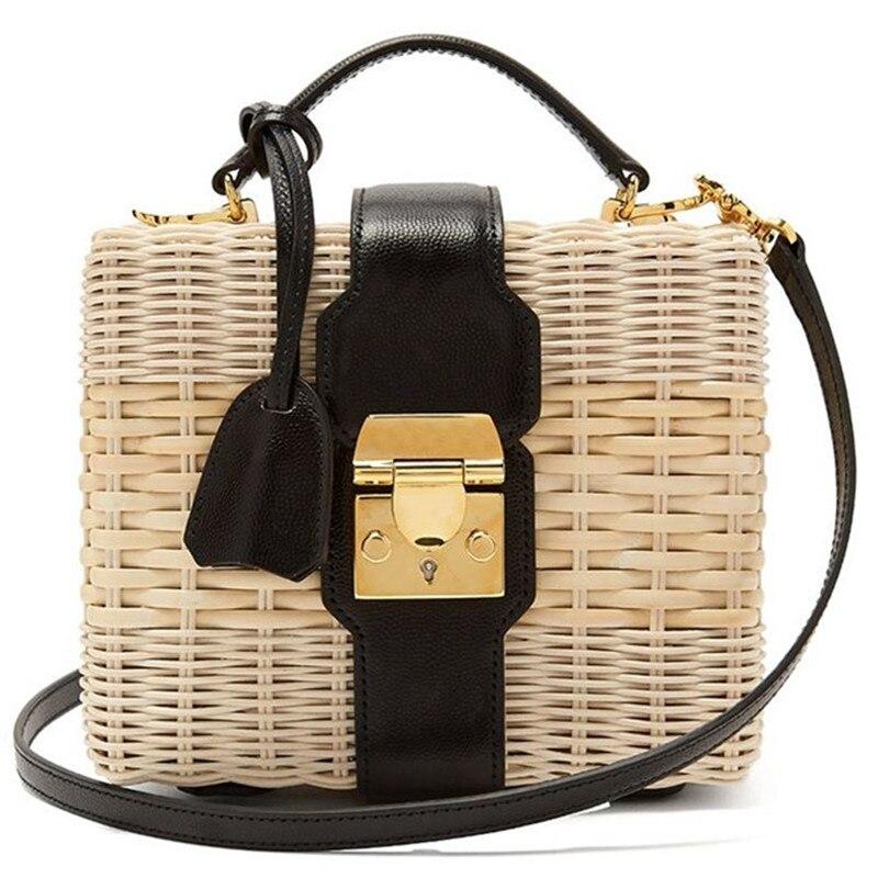 Seaside Holiday Straw Bag Shoulder Messenger Woven Bags Female Beach Box Bag High Quality Rattan Bag