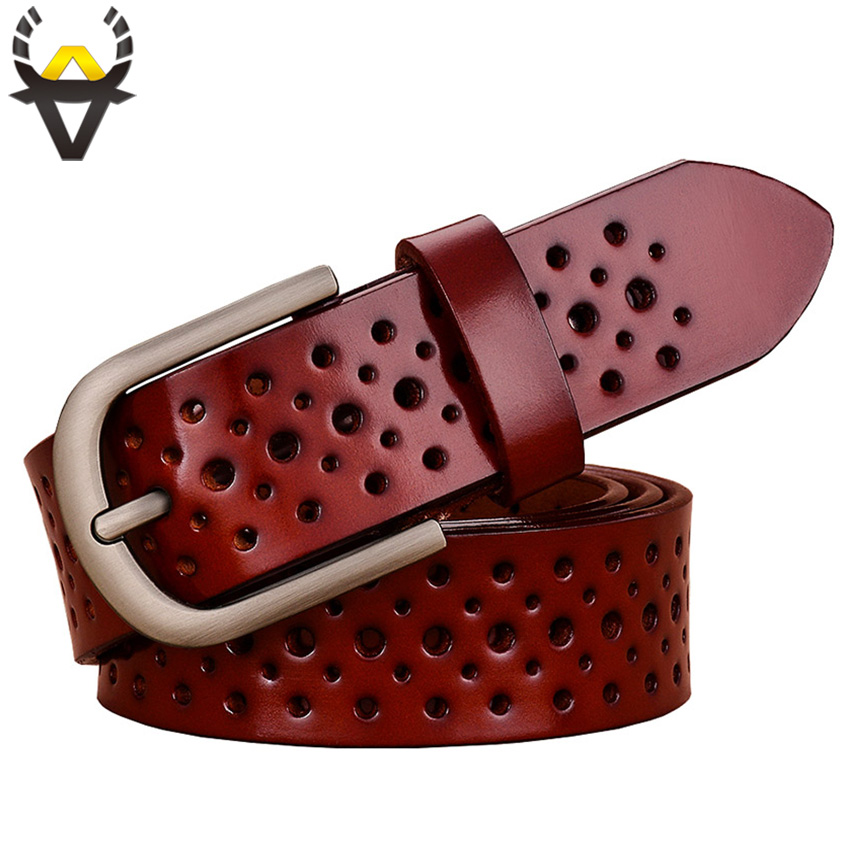 Fashion holes genuine leather   belts   for women Wide pin buckle woman   belt   Quality second layer cow skin strap female Width 3.3 cm
