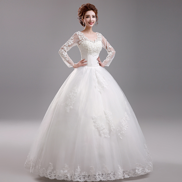 Fashionable White Wedding Dress Bride Liques Lace Dresses Ball Gown Vestido De Noiva Long Sleeve H907 In From
