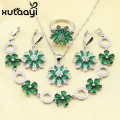 Silver Color Women 4PCS Jewelry Set West Style Green Created  Zircon  Earrings Ring Necklace Pendant Christmas Bracelet Gift