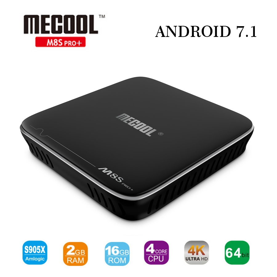New Mecool M8S PRO+ Smart TV Box 2GB DDR3 16GB Android 7.1 Amlogic S905X Quad-core 2.4G WIFI H.265 UHD 4K Media Player M8SPRO+
