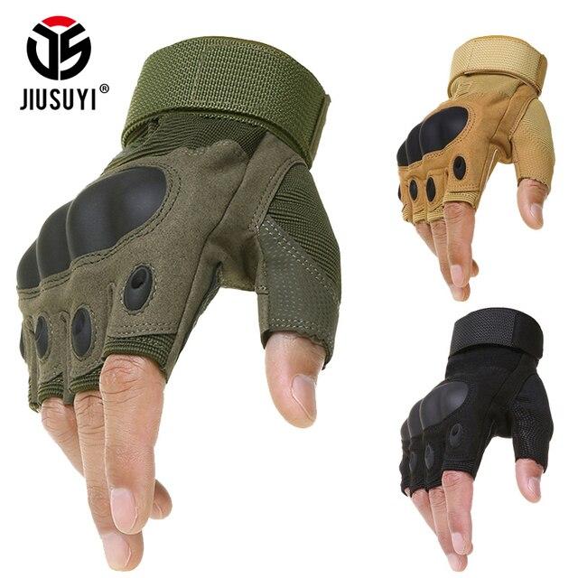 Militar Do Exército tático Rígido Knuckle Luvas Sem Dedos de Bicicleta Tiro  Paintball Airsoft Motocross Meia aa8d414dcc2