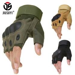 Тактические с твердыми костяшками перчатки без пальцев военные армейские велосипедные стрельба Пейнтбол страйкбол Motorcross Half Finger перчатки