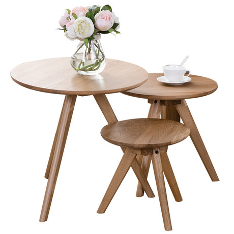 US $161.99 10% OFF|Coffee Tables Living Room Furniture Home Furniture  Japanese style white oak solid wood coffee table tea table round table  sale-in ...
