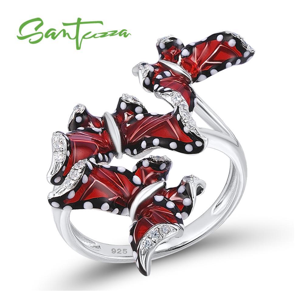 SANTUZZA Silver Ring For Women Genuine 100% 925 Sterling Silver Red Butterflies кольцо Trendy Fashion Jewelry Handmade Enamel-in Rings from Jewelry & Accessories