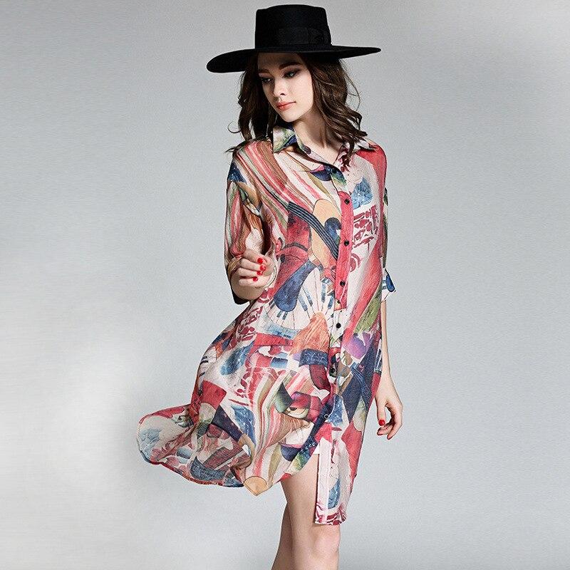 Multiple Impresión Retro Kimono Tops Seda Larga Moda Mujeres Carrera Camisas Lino De Cardigan Ropa Blusa 4xl Verano Suelta Blusas pqIqUgxwH