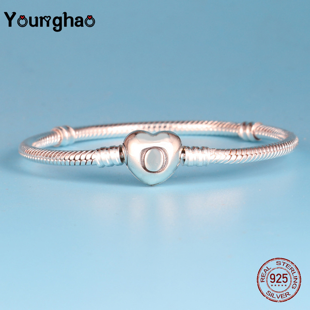 be54ffca1 Younghao 925 Sterling Silver Charm Bracelet with Heart Clasp Snake Chain  Bracelet Fit DIY Jewelry Pandora Bracelets for Women