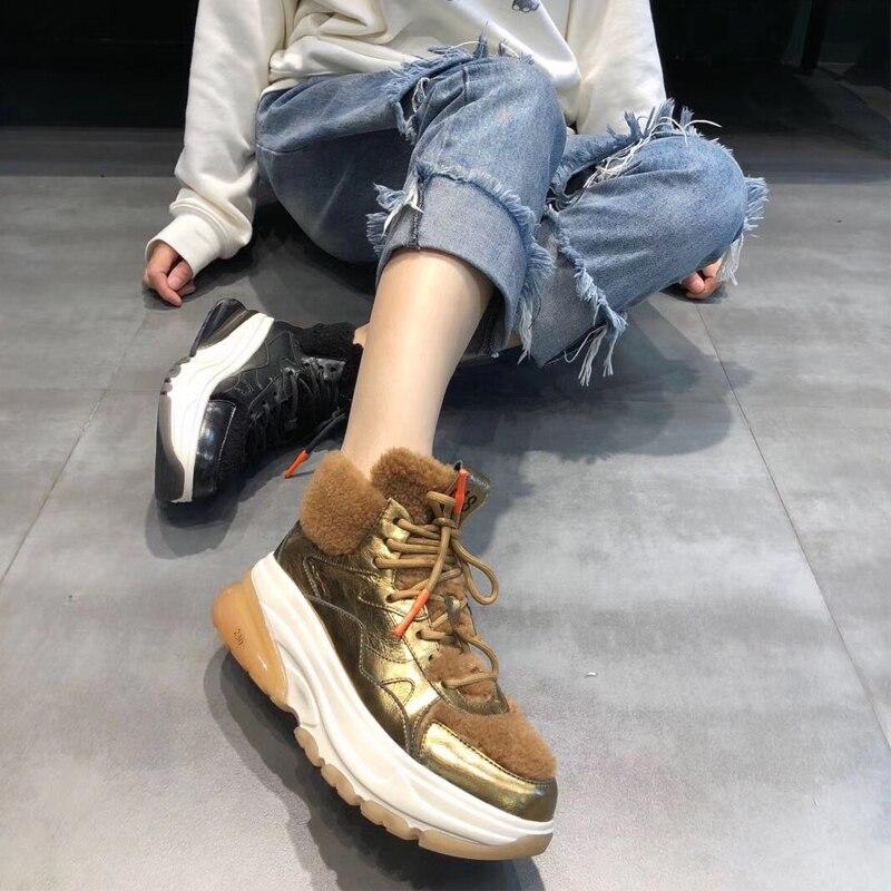 caf64e9b Botas De 2 Casuales Fondo Cuero Mujer Terciopelo Corbata Cordero 3 Metal  Nuevo Pastel Invierno Piel Vaca Zapatos ...