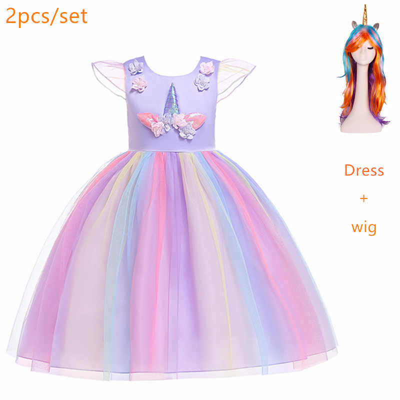 Flower Girls cosplay  Unicorn Dress Children's day Princess Girls Birthday Party Dress Children Kids Carnival Unicorn Costume