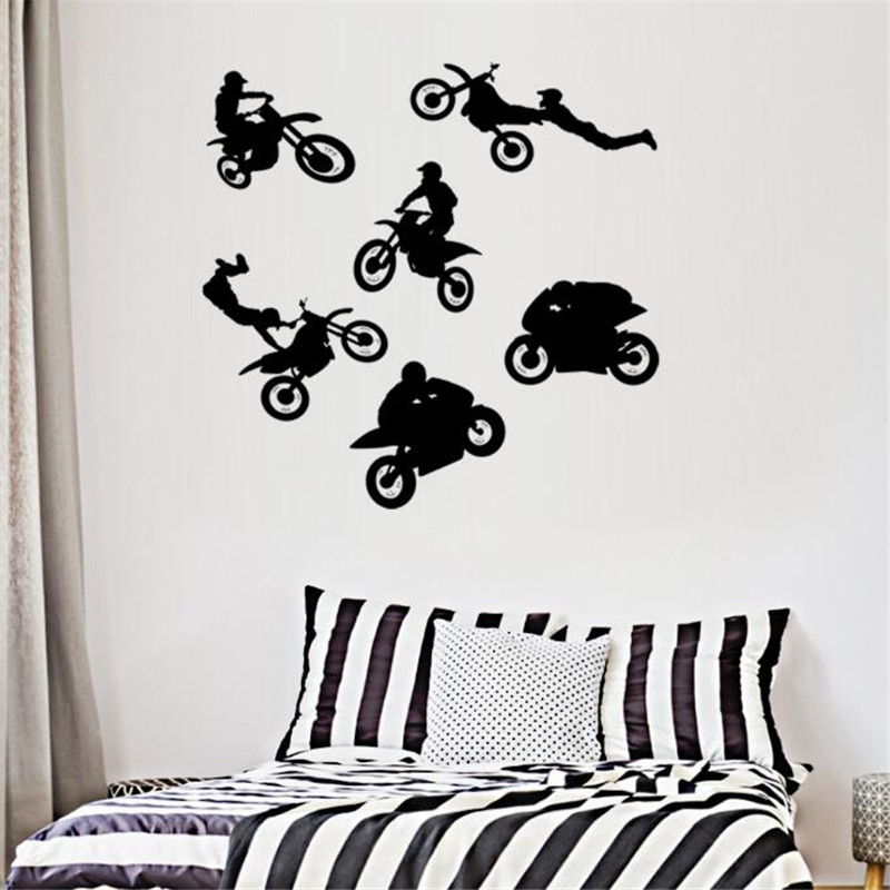 Motorcycle Wall Stickers Part - 16: IDFIAF Creative Grim Rider Motorcycle Wall Stickers For Kids Rooms Home  Decoration For Bedrooms Vinyl Decals