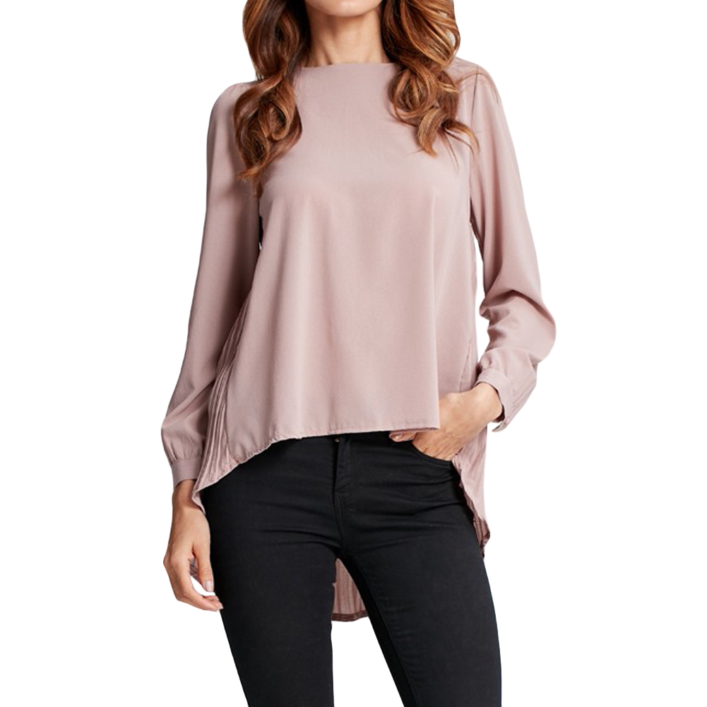 Plus Size - Chiffon Blouse Pleated Back Long Sleeve Asymmetric Loose Shirt (Us 8 - 20W)