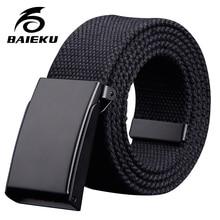 37a25395d842 BAIEKU Jeune mode boucle boucle étudiant ceinture Haute qualité simple toile  ceinture(China)