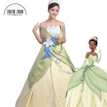 Top Quality Custom made The Princess and the Frog Tiana Cosplay Tiana Princess Costume Halloween Dress Free Shipping