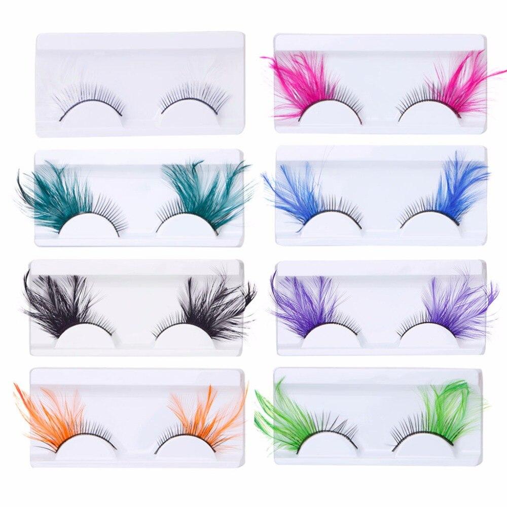 1 Pair Feather Dot False Eyelashes Makeup Eye Lash Halloween Xmas Show Masquerade Natural Colorful