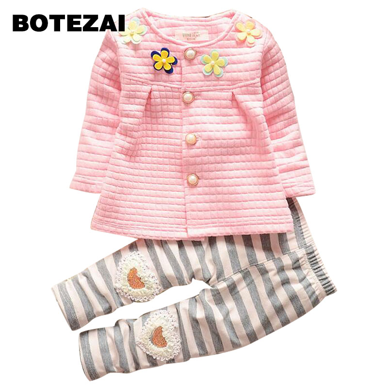 2017 Baby Girls Spring Autumn Christmas Outfits Clothing Sets Children tracksuit set flower botton cardigan suit kids girls lavla2016 new spring autumn baby boy clothing set boys sports suit set children outfits girls tracksuit kids causal 2pcs clothes