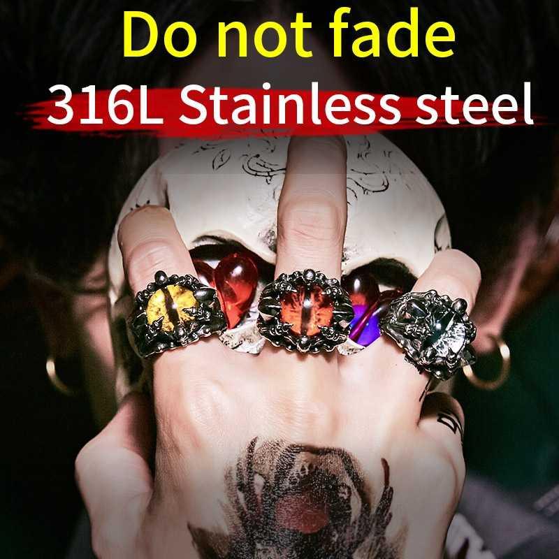 באייר פאנק רוק טופר עם שלוש זירקון אבן עין רע CZ טבעת גברים יום נישואים Biker גולגולת תכשיטי חג המולד מתנה BR8-479
