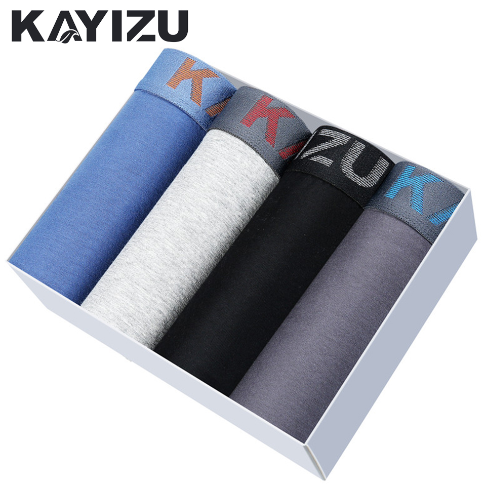 KAYIZU 4PCS/Lot Men Boxer Shorts Panties Mens Underwear Boxer Solid Male Underpants Panty Male Underwears Cueca Boxers