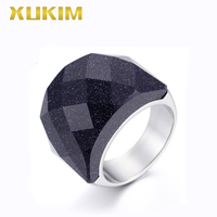 TSR227 Xukim Jewelry stainless steel rings black opals rings sliver titanium rings for men and women wedding