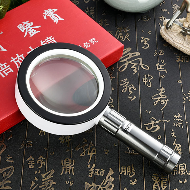 10x Handheld Illuminated Magnifier Loupe Reading Jewelry Magnifying Glass Loupe with 12PCS LED Light Free Shipping free shipping x3 x6 card led magnifier with led light leather case magnifying glass ultra thin portable square loupe