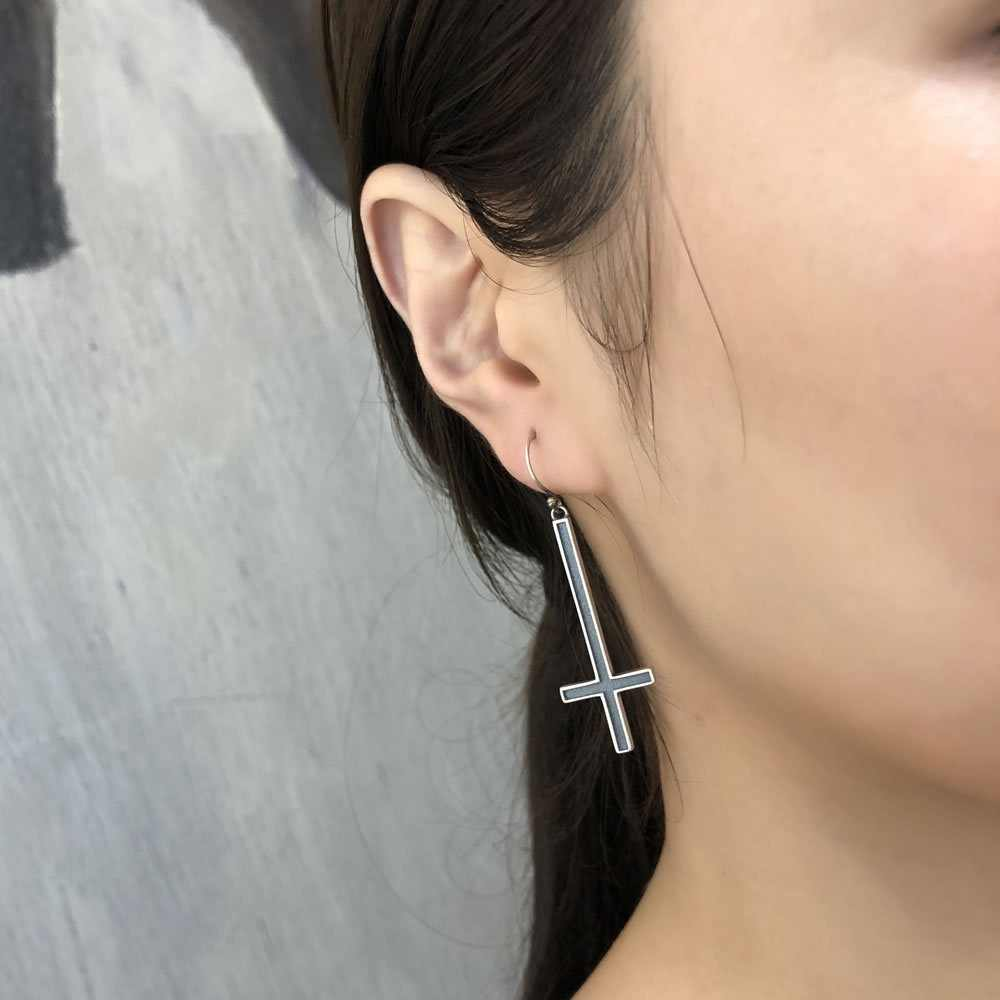 925 Sterling Silver Satan Inverted Cross Drop Earrings Devil Lucifer Satanism Jewelry High Quality