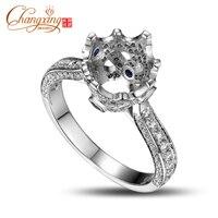 7mm Round Cut 14K White Gold Natural Engagement Diamond Ring Mounting