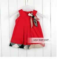 Los niños al por menor ropa de los cabritos de la muchacha princesa rejilla bowknot sin mangas de estilo occidental vestido de 2014 envío gratuito