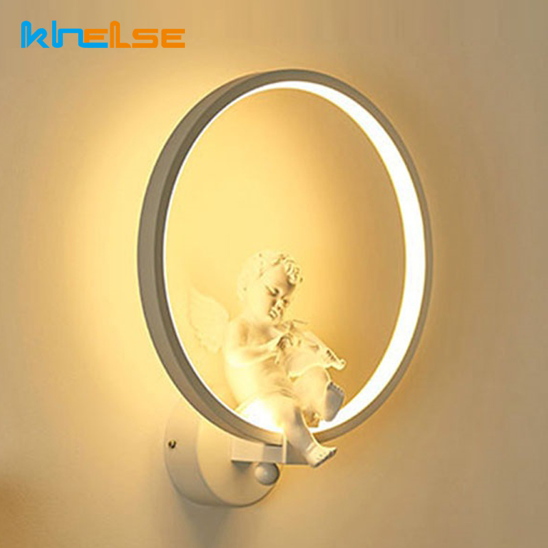 Modern 18W LED Wall Lamp Art Angel Creative Beside Wall Light Indoor Living Room Dining Room Corridor Caffe Lighting Decoration [ygfeel] 18w led wall lamp modern creative bedroom beside wall light indoor living room dining room corridor lighting decoration