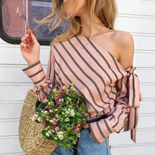 Striped off shoulder sexy blouse shirt Women Autumn elegant casual streetwear female Daily office bow club tops