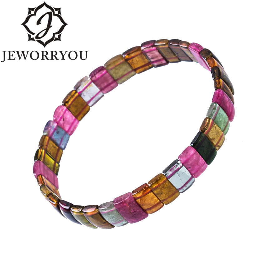 Natural Tourmaline Bracelet For Women 3x5x10mm Colorful Natural Stone Beads Bracelet Women Promote Feelings Couple Bracelets
