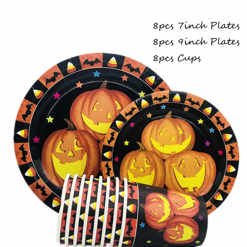 Omilut Pumpkin Halloween Disposable Tableware Set Party Decor for Kids Tablecloth
