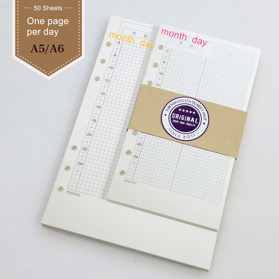 Hand book Page Loose Notebook Adapter Filofax Core A5 A6 Core Page Notebook Planner Filofax Journal Personal Diary filler papers браслеты page 9