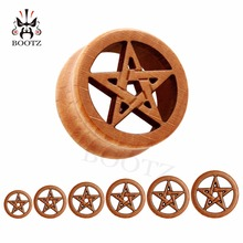 חדש אופנה פירסינג גוף תכשיטי כוכב לוגו עץ תקעים בשר מנהרות 10 25mm