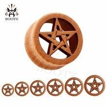 Neue mode piercing körper schmuck stern logo holz plugs flesh ohr tunnel 10 25mm